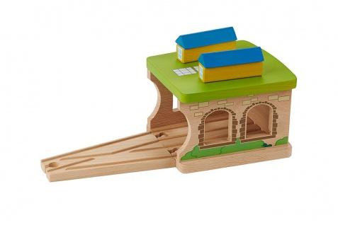 Holzspielzeug - Eisenbahnschuppen
