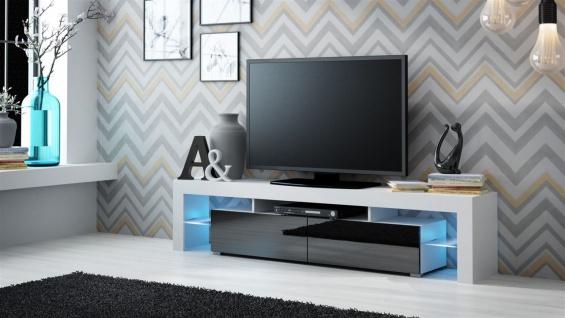 TV Board Lowboard JACK Weiss / Schwarz Hochglanz 200cm