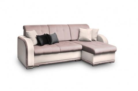 Ecksofa Sofa LINDO mit Schlaffunktion Creme-Rose Ottomane Rechts
