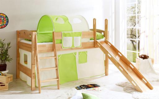 Hochbett COLIN R mit Rutsche Buche Natur + Vorhang Beige/ Grün