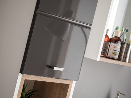 Badmöbel Set 3-tlg Badezimmerset VENTO Grau HGL inkl.Waschtisch 50cm - Vorschau 5