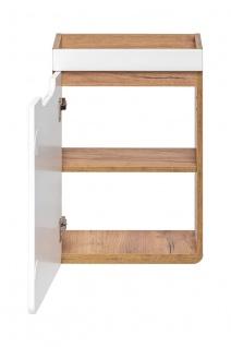 Badmöbel Set 6-tlg Badezimmerset FERMO Weiss HGL inkl. Waschtisch 40cm - Vorschau 3
