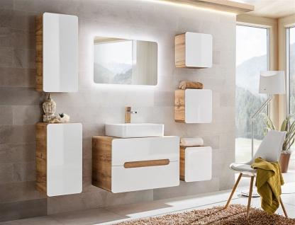 Badmöbel Set 7-tlg Badezimmerset FERMO Weiss HGL ohne Waschtisch