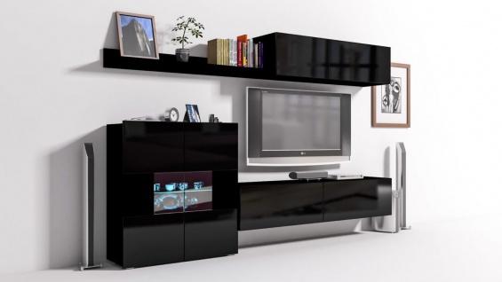Mediawand Wohnwand 6 tlg - Konzept 10 - Schwarz Hochglanz