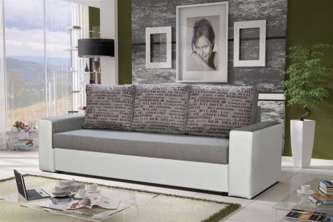 Sofa Designersofa LEEDS 3-Sitzer mit Schlaffunktion Weiss /Hellgrau