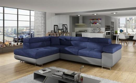Couchgarnitur JADE Grau-Blau mit Schlaffunktion Ottomane Links