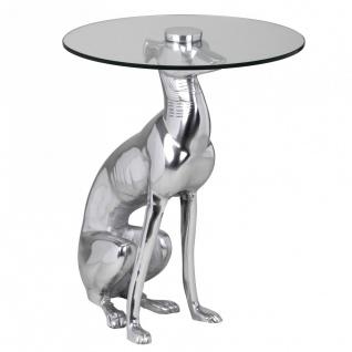 Design Deko Beistelltisch Figur DOG aus Aluminium Farbe Silber