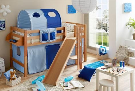 Spielbett Podestbett inkl.Rutsche BOBY- Buche Natur +Vorhang Blau