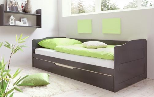 Funktionsbett Tagesbett Sofabett MELY Kiefer Grau 90x200 cm