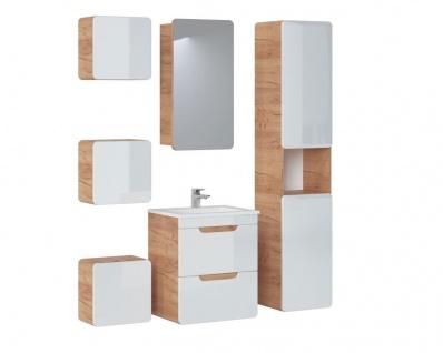 Badmöbel Set 6-tlg Badezimmerset FERMO Weiss HGL inkl. Waschtisch 50cm