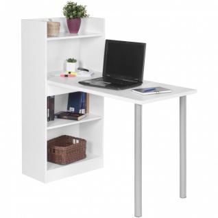 Schreibtisch PC-Tisch mit Regal TOLY Weiss 121.5 x 120 x 70 cm