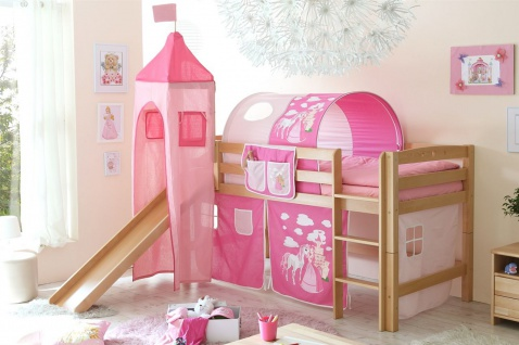 Rutschbett ROBI R XL Buche Natur inkl.Vorhang und Turm Prinzessin-Pink