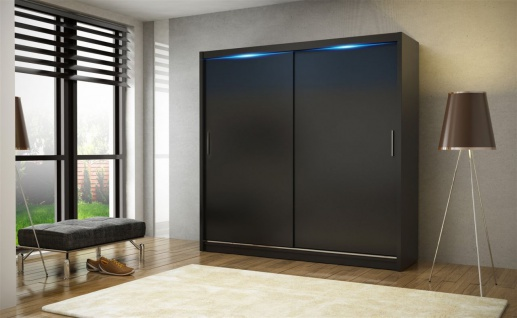 Schiebetürenschrank Schrank DOLM 02 Schwarz matt 180x213 cm inkl.LED