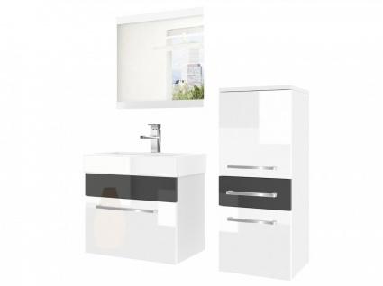 Badmöbel Set 3-tlg MARIO Set.1 Weiss-Schwarz HGL inkl.Waschtisch 50 cm