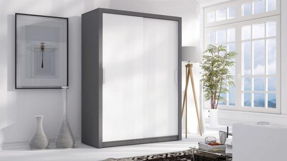 Schiebetürenschrank Schrank LUND Grau /Weiss matt 150x215 cm