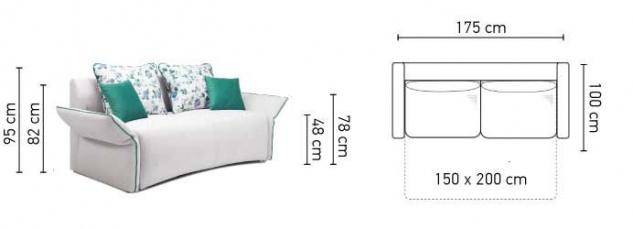 Sofa 2 Sitzer Mit Schlaffunktion Rosalie Polyesterstoff Ecru