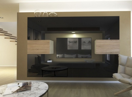 Mediawand Wohnwand 10 tlg - NEXI 1 -Schwarz Hochglanz /Sonoma inkl.LED