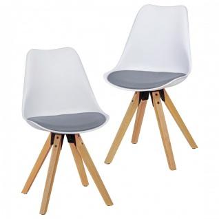 Esszimmerstühle Stühle Vierfußstuhl 2er-Set LEVI Weiss-Grau/Rubberwood