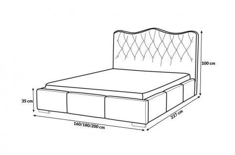 Polsterbett Bett Komplettset SULTAN Kunstleder Beige 160x200cm - Vorschau 4