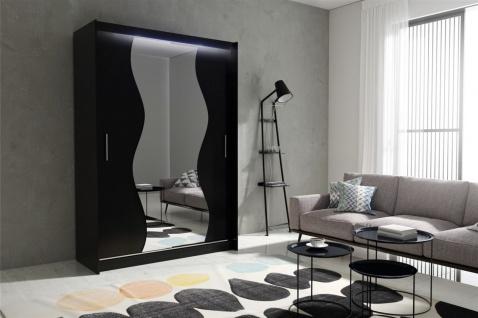 Schiebetürenschrank Schrank DOLM 10 Schwarz matt 150x213 cm inkl.LED