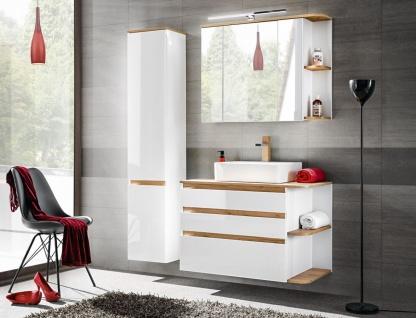 Badmöbel Set 3-tlg Badezimmerset PLATIN Weiss HGL ohne Waschtisch