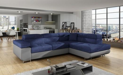 Couchgarnitur JADE Grau-Blau mit Schlaffunktion Ottomane Rechts