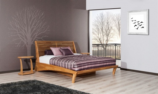 Massivholzbett Bett Schlafzimmerbett FRESNO Eiche massiv 140x200 cm - Vorschau 4