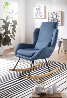 Relaxsessel Sessel ZURA Schaukelstuhl Wippstuhl in Stoff Blau