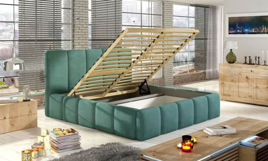 Polsterbett Doppelbett VERONA Komplettset Kunstleder Creme 120x200cm - Vorschau 2