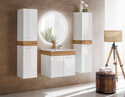 Badmöbel Set 4-tlg Badezimmerset AVOLI Weiss HGL inkl.Waschtisch 50 cm