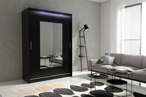 Schiebetürenschrank Schrank DOLM 06 Schwarz matt 150x213 cm inkl.LED