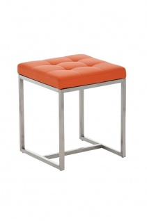 Sitzhocker - BRIT 2 - Hocker Sessel Kunstleder Orange 40x40cm