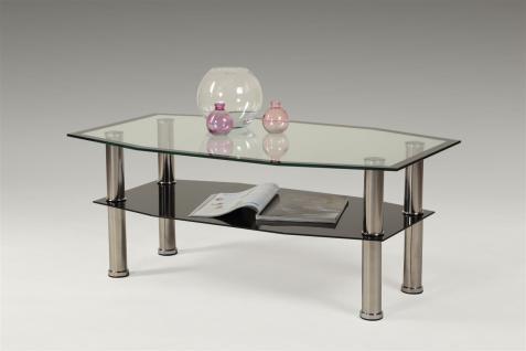 Couchtisch Tisch TIBOR 100x60 cm Schwarz - Chrom / ESG Glas