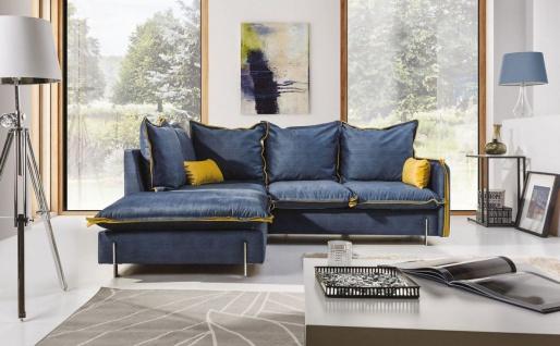 Ecksofa Sofa BERGAMO Polyesterstoff Blau / Gelb Ottomane Links