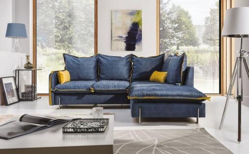Ecksofa Sofa BERGAMO Polyesterstoff Blau / Gelb Ottomane Rechts