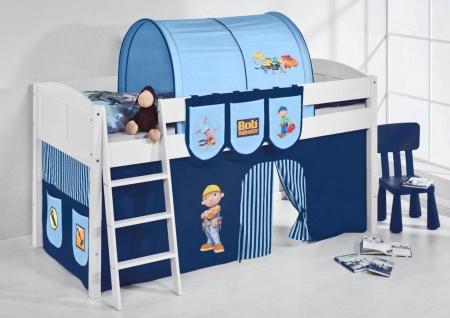 Spielbett Bett -LANDI - Bob -Teilbar - Kiefer Weis -mit Vorhang