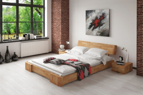 Massivholzbett Bett Schlafzimmerbett MESA Eiche massiv 120x200 cm