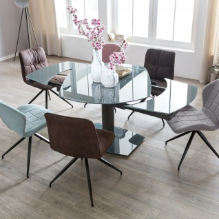 Esstisch Ausziehbar Dunkelgrau Metall /Glas SALERNO 120/180x90 cm