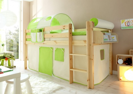 Hochbett Bett DANY Kiefer Natur inkl.Vorhang Beige / Grün