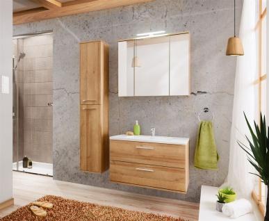 Badmöbel 3-tlg Badezimmerset WENDO Eiche inkl.Waschtisch 80cm