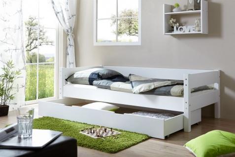 Tagesbett-Bett ROKSI Buche Massiv Weiss 90x200 cm inkl.Schubkasten