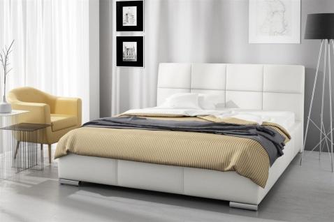 Polsterbett Bett Doppelbett HANNES Kunstleder Weiss 140x200cm