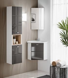 Badmöbel Set 3-tlg Badezimmerset VENTO-ECK Grau inkl.Waschtisch 40cm