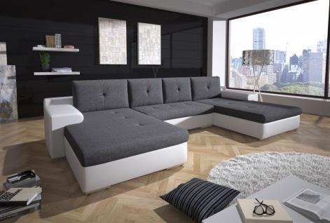 Couchgarnitur FLORENZ U-Form mit Schlaffunktion Weiss / Dunkelgrau