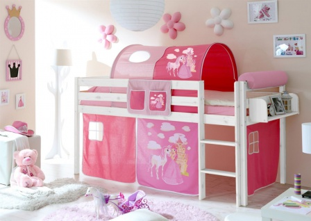 Hochbett Bett DANY Kiefer Weiss inkl.Vorhang Horse Pink