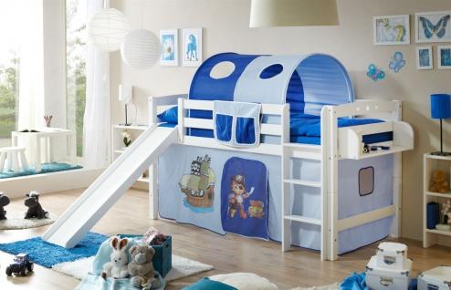 Hochbett ROBI R mit Rutsche Buche Weiss + Vorhang Pirat- Blau