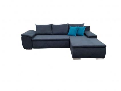 Ecksofa Sofa MIRENA mit Schlaffunktion Marineblau Ottomane Rechts