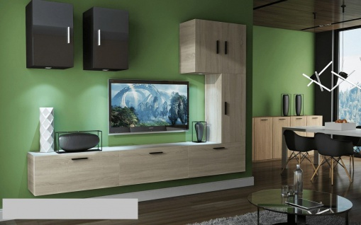 Mediawand Wohnwand 8 tlg - Bedox 4 - Sonoma matt- Schwarz HGL Nr.1+LED