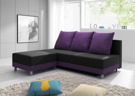 Sofa Schlafsofa KIRA inklusive Bettkasten und Hocker Violett / Schwarz