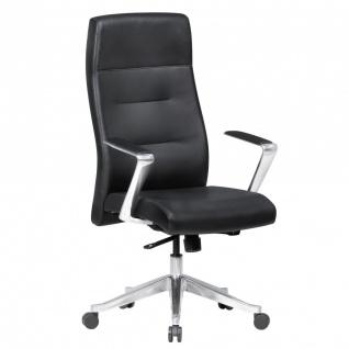 Drehstuhl Bürostuhl Chefsessel OMAHA -Echtleder Schwarz